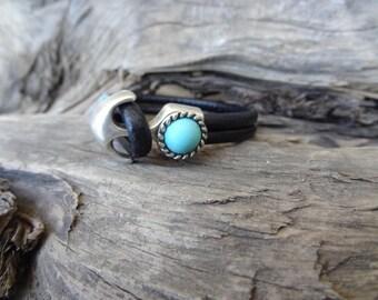 EXPRESS SHIPPING,Turquoise Bracelet,Black Leather Bracelet,Women Leather Jewelry,Stone Jewelry,Turquoise Hook Bracelet,Mother's Day Gifts