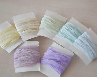 Marshmellow Hand dyed 2,5 cm *5m silk ribbons-hand dyed ribbons-hand dyed silk-silk ribbons