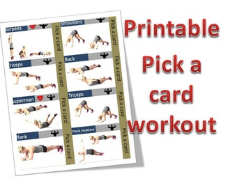 Printable Workout cards. A4 size. Total of 28 exercise cards.