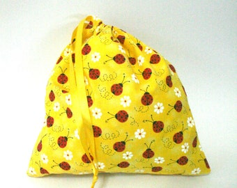 Lady Bugs and Daisies in Sunshine Drawstring Bag