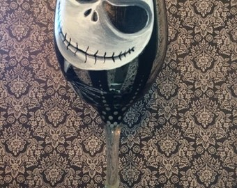 Jack from Tim Burton's The Nightmare before Christmas hand painted wineglass