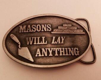 VINTAGE 1978 Mason Pewter Finish Belt Buckle **FREE SHIPPING**