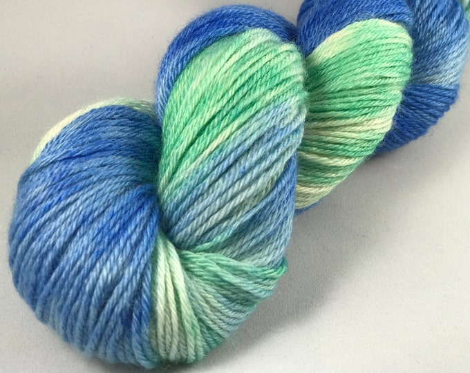"Hand Dyed DK Yarn, 100% Superwash British Bluefaced Leicester Lustre Wool ""Sea Breeze"""