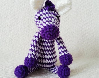 Purple Zebra Baby Rattle/ Crochet Zebra/ Stuffed Animal/ Amigurumi Zebra/Baby Toys/ Baby Shower Gift/ Crochet Animal/ Baby Rattle/ Baby Gift