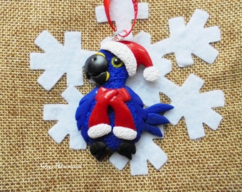 Hyacinth macaw parrot christmas ornament / necklace / magnet, handmade!