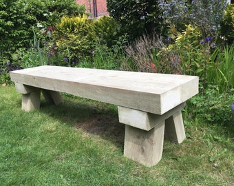 Handmade Trestle Style Sleeper Bench