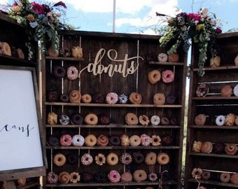 "Donuts Laser Cut Sign. 24 inches long  1/8"" Raw Birch Wood. Wedding Decor."