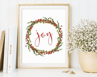 Joy, Joy Printable, Joy Wall Print, Christmas Wall Art, Christmas Wreath Print, Christmas Printables, Christmas Decor, Simple Christmas Art