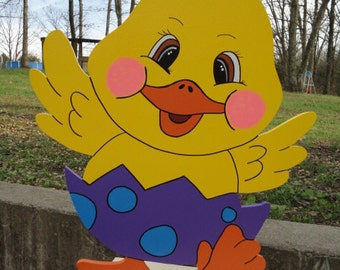 Yellow Easter Chick Wearing Egg Yard Art Lawn Decoration