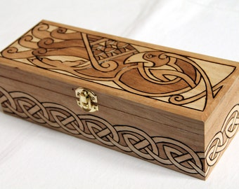 Wooden box carved with celtic patterns: bird and interlacings, medieval, fantasy, viking, storage box, celtic casket
