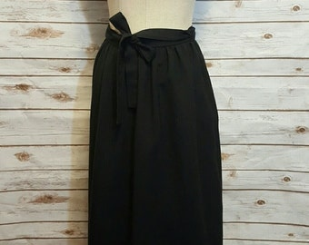 70's Handmade black wrap skirt, Small/Medium