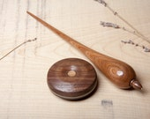 Teardrop Support Spindle and bowl / Brass Tip / Hand Turned Supported Spindle / Hardwood / Elm, Walnut and Ash