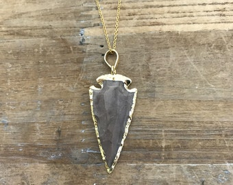 "REAL Gold edge Arrowhead Charm Necklace on matching Gold 18"" Chain"