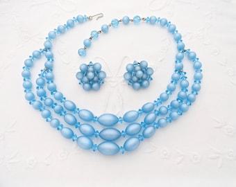 Blue Moonglow Necklace Earring Lucite Plastic Retro Vintage Set