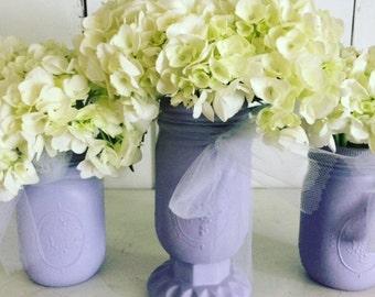 Lavender Wedding Decor Wedding Centerpiece Painted Mason Jars Rustic Wedding Table Reception Decor