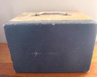 Vintage 45s Vinyl Record Storage & Travel Case - Handled Ornate Hinges - Opens in Front - Brown Navy Blue - Lined with Three Shelves Carrier
