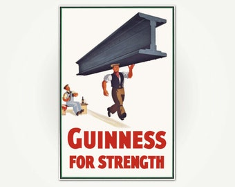 Guinness for Strength Vintage Irish Stout Beer Poster Print - Guinness Brewing Poster Art