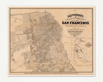 San Francisco Vintage City Map - Bancroft's Official Guide Map Of City And County Of San Francisco 1873