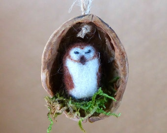 Sleeping owl in a walnut shell, Needle felted ornament, Gift for owl lovers, Gift for teacher, New Home, Father's Day gift