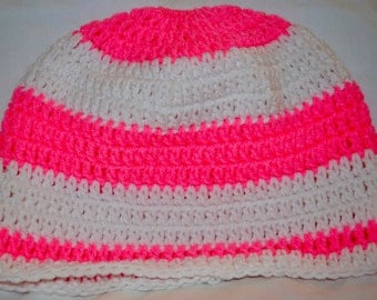 Crocheted Ponytail Hat Hot Pink and White