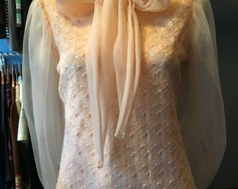 Vintage 1960s Peach Bow Blouse Sheer Sleeves and Bow with Shell Design Unique