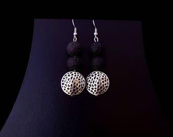 Lava Earrings, Black Lava Earrings, Diffuser Earrings, Lava Stone Earrings, Lava Rock Earrings, Drusy Earrings, Mala Earrings, Amulet Gift