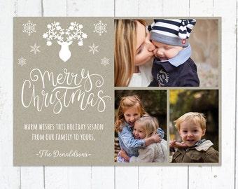 Photo Christmas Cards, Photo Holiday Cards, Multiple Photos, Rustic, Deer, Snowflakes, Printable, Kraft Paper, Digital File, Three Photos