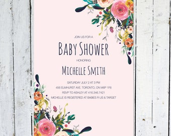 Baby Shower Invitation Girl, Floral, Watercolor, Colorful, Pink, Printed, Printable