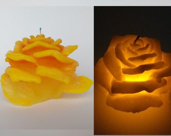 Yellow Rose candle with led - Carved candle - Wedding Table Candle - Decorative candle - Yellow candle - Unique candle -  Gift idea