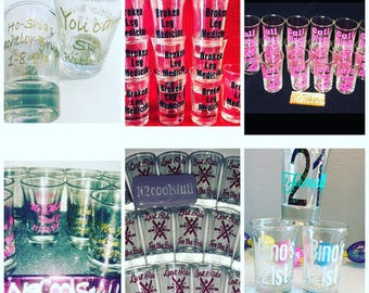 Custom shot glasses / Party favors/ Weddings gifts/ Wedding favors