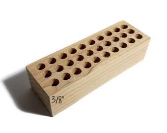 """3/8"""" holes small metal stamp holder, wooden stamp block for metal stamps, Alphabet stamp holder, custom metal stamp holder, metal stamps"""