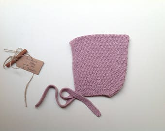 READY TO SHIP - Baby Pixie Bonnet hat 100% cashmere  color Ombre rose hand knitted,  size 2-3 years