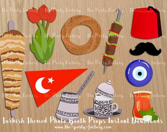 Turkish/Istanbul Themed Photo Booth Props Instant Download, Digital File, Printables