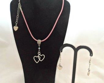 Hearts and Crystal Necklace and Earrings Set (1285)