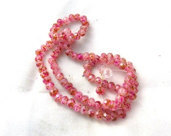 1 Strand Spray Painted 6mm Faceted Rondelle Glass Beads Orange/Pink/White (B145f3)