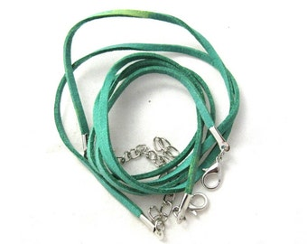 """2 Faux Suede Cord Necklaces with Lobster Clasps 17.7"""" Green (B150a5)"""