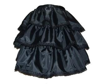 BURLESQUE BLACK SATIN tie on bustle, gothic bustle skirt,  victorian skirt,  steampunk busle skirt,  burlesque costume, s m l , plus size