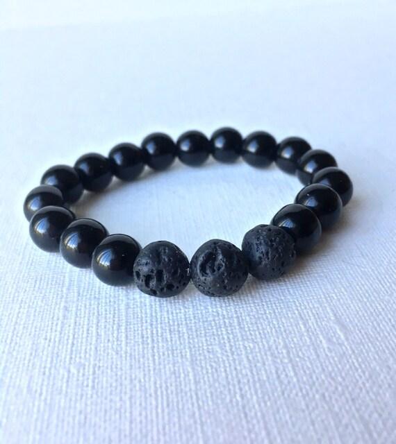 Child Essential Oil Diffuser Bracelet - gift for boy - gift for son - black lava bead and black beaded stretch bracelet