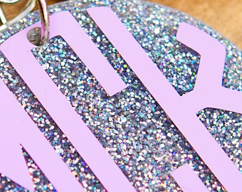 RAINBOW GLITTER Monogrammed Keychain with Tassel, Personalized Key chain, Initial Keychain