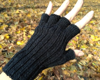 Womens gloves half finger gloves alpaca gloves wool gloves hand knit gloves black gloves fingerless gloves crochet gloves winter accessories