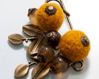 Bronze safety pin brooch with orange needle felted berries and agate beads charms Scarf holder Mothers Day gift Jewelry gift for her