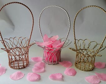 Gold, Rose Gold, Silver, Flower Girl Basket