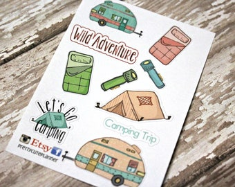 Camping Planner Stickers - Reminder Stickers - Planner Stickers - Camping Stickers - Vacation Stickers - Happy Planner - Glamping - Vintage