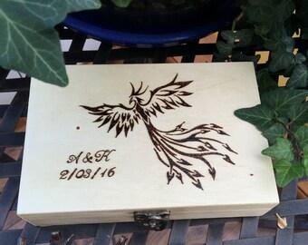 Personalized wood box Phoenix pyrography art. Wood burned Trinket box/ secret stash box/ Jewelry box/ Decorative gift box/ Birthday gift