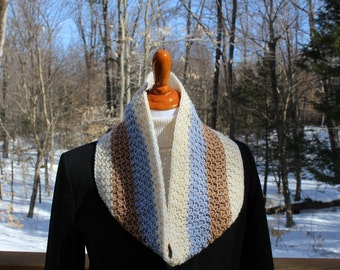 Multicolor Cowl, Crochet Cowl, Cream Brown Blue Cowl, Neckwarmer