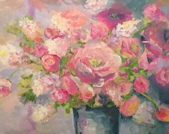 Flower, Peonies, Rose Painting