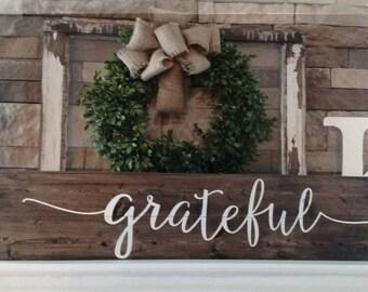 Grateful rustic wood sign