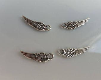 Wing Charms, Silver Angel Wings, Angel Wing Spacers, Angel Spacers, Silver Spacers,