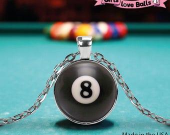 Cute Pool Billard 8-Ball pendant on delicate chain, photo-realistic style, elegant necklace