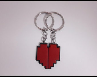 8 Bit Heart Friendship Couples Magnetic Keychain